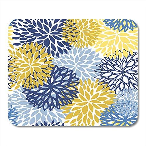 Mouse Pad Gummi Mini Rechteck Grün Muster Frühlingsblume Blau Gelb und Marine Chrysantheme Braun Blumen Mousepad Smooth Gaming Notebook Computerzubehör Backing