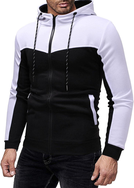 Men's Sweatshirts Cardigan Full Zip Fashion Mens Athletic Hoodies BlockColor Sport Sweatshirt Long Sleeve Pullover