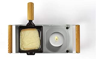 Raclette Grill 2 personas no eléctrico para velas de té barbacoa de mesa (2 sartenes, revestimiento antiadherente, para vela)