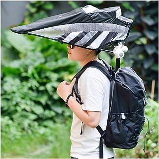 Mochila de viaje portátil al aire libre Ventilador incorporado, parasol sin manos Senderismo Protector solar Mochila de enfriamiento Paraguas Mochila de senderismo para acampar a prueba de agua,Green