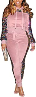 Akmipoem Women's Velour Tracksuit Set Sequin 2 Piece Outfit Long Sleeve Hoodie and Pants Sweatsuit