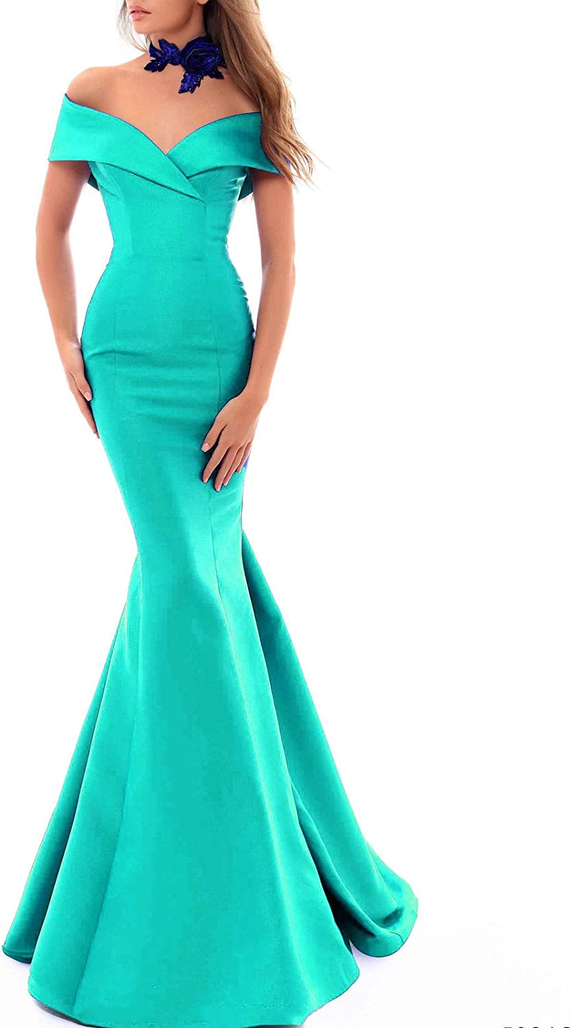 Aishanglina Women's Off The Shoulder Mermaid Formal Event Satin Gown Wedding Party Bridesmaid Dress