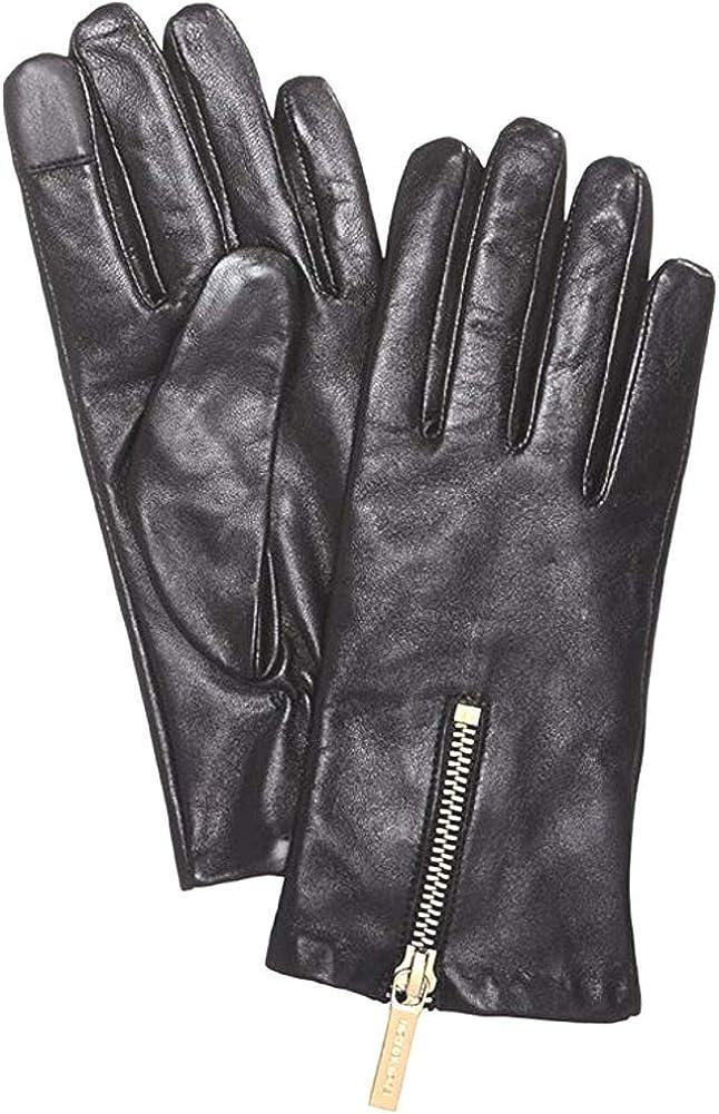 Michael Kors Womens Leather Gloves Gold Zipper (XL)