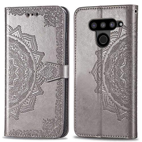 Bear Village Hülle für LG V50 ThinQ, PU Lederhülle Handyhülle für LG V50 ThinQ, Brieftasche Kratzfestes Magnet Handytasche mit Kartenfach, Grau