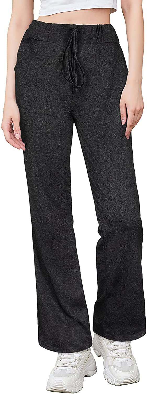 PTSPDP Women's Sweatpants Drawstring Waist Gym Jogger Yoga Pants Lounge Trousers with Pockets