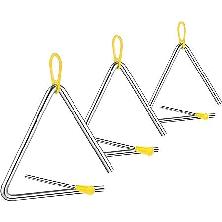 Instrumento Triángulo Music, 3 Piezas Triangulo Percusion Instrumentos, Triángulos para Instrumentos Percusión, 4/5/6 Pulgadas Triángulo Musical para Niños, Escuelas, Educación temprana