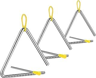 Instrumento Triángulo Music, 3 Piezas Triangulo Percusion Instrumentos, Triángulos para Instrumentos Percusión, 4/5/6 Pulg...