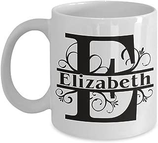 Elizabeth Coffee Mug First Name Monogram Personalized Ceramic Tea Cup Gift Girl Woman Named Custom Novelty