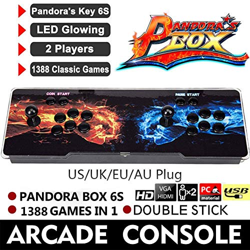 Seasaleshop Pandora Box 6s Arcade Game-joystick spelconsole, 1280 x 720P Full HD compatibel met alle HDTV-beeldschermen, PC