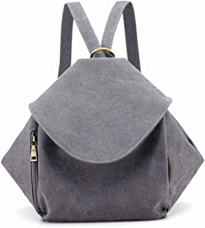 Daypacks Canvas Bag Casual Shopping Street Trip Tourism Large-Capacity Solid Color Women's Shoulder Bag Travel Backpack (Color : Gray)