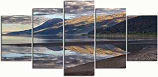 PENGTU Paintings Modern Canvas Painting Wall Art Pictures 5 Pieces, Reflection Alaskan Landscape,Wall Decor HD Printed Posters Frame
