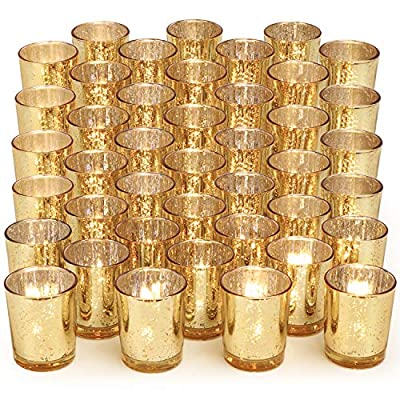 DARJEN Gold Votive Candle Holders Set of 108 - Mercury Glass Votive Tealight Candle Holder for Weddings, Home Decor and Parties