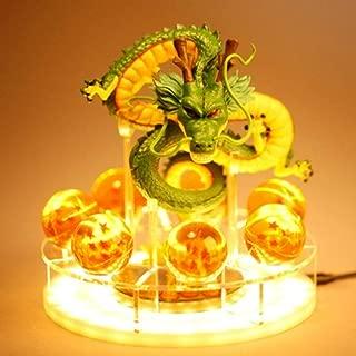 Royal Kiss Feel Dragon Ball Z Figurines Shenron Action Figure Shenlong with Dragon Ball Set 7PCS 35mm Crystal Dragon Balls +Acrylic Shelf Charging Light (Green Dragon)