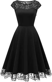 HomRain 1950er Elegant Spitzenkleid Rundhals festlich Brautjungfern Damen Cocktailkleider Abendkleid für Hochzeit Partykleid