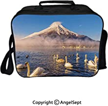 Reusable Lunch Bag With Adjustable Shoulder Strap,Mount Fuji Reflected in Lake Yamanaka at Dawn Japan Several Swans Image Print White and Blue 8.3inch,Office Work Picnic Hiking Beach Lunch Box