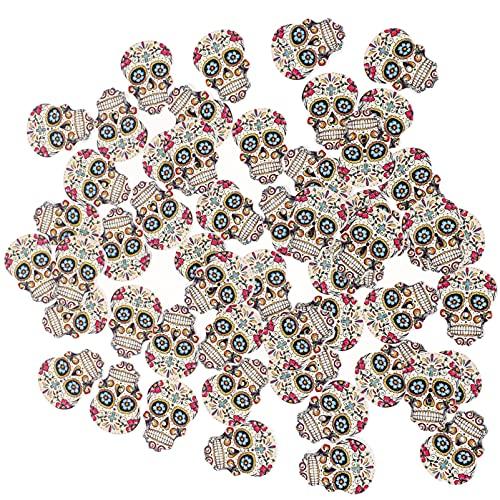 EXCEART 100 Piezas de Botones de Calavera de Madera de Halloween para Scrapbooking Costura DIY Artesanía Hecha a Mano Decoración de Fiesta de Halloween