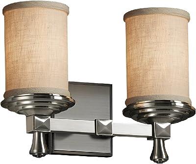 Argyle 2-Light Bath Bar Square with Flat Rim Shade LED Brushed Nickel Cream Justice Design Group Lighting FAB-8502-15-CREM-NCKL-LED2-1400 Textile