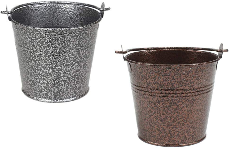 YARDWE 2pcs Mini Metal Spring new work one after another Store Bucket T Stainless Steel Vintage Tinplate
