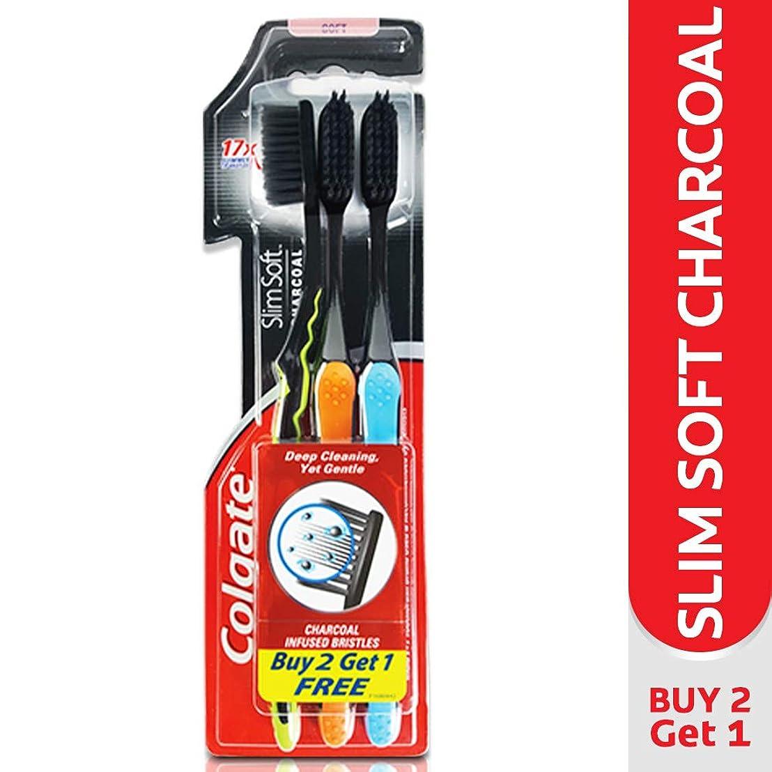 贈り物裁判所指導するColgate Slim Soft Charcoal Toothbrush (Pack of 3) 17x Slimmer Soft Tip Bristles (Ship From India)