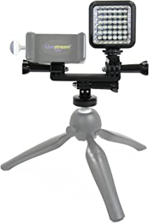 Livestream Gear - LED Dual Mount Add-On for Smartphone Tripod Setup. Enhance The Quality of Your LiveStream or Video. Also...