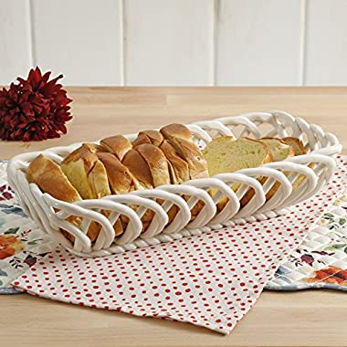 Timeless Beauty 13.7-Inch Linen Bread Basket Perfect For Use From Oven To Table, Dishwasher And Microwave Safe, Made Of Stoneware By The Pioneer Woman