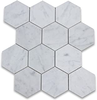Carrara White Italian Carrera Marble Hexagon Mosaic Tile 4 inch Honed