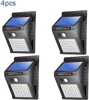 Ridioo 4 piezas x 30LED con energía solar Sensor de movimiento PIR Luz de seguridad de pared Jardín Lámpara para exteriores Iluminación con 3 modos