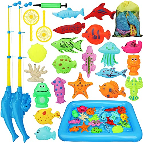 TOY Life Kids Magnetic Fishing Game with Magnetic Fishing Pole, Floating Toy Fish, Inflatable Play Area - Fishing Toy for Toddlers Outdoor Fishing Toys Bath Toy for 3 4 5 Boys Girls Toddlers