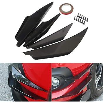 4Pcs Carbon Fiber Car-Styling Front Bumper Lip Splitter Fins Body Spoiler Decor Black Car Spoiler Kit