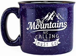 The Mountains Are Calling And I Must Go Ceramic Campfire Coffee Mug 15oz - Unique Gift Idea for Outdoor Mountaineering Enthusiasts - Inspirational John Muir Quote - Top Outdoorsman Cabin Gifts