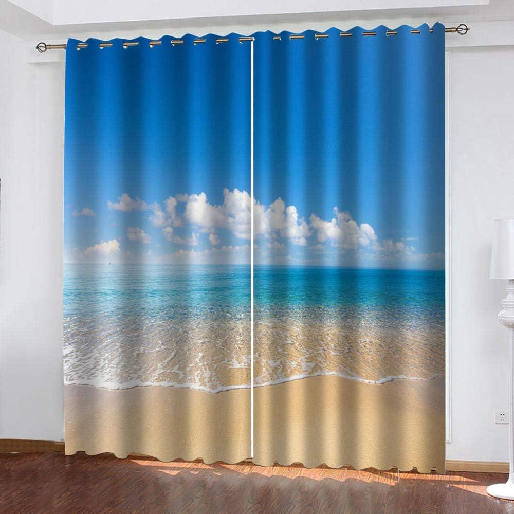 Strand Lichtundurchl/ässige Vorhang mit /Ösen f/ür Schlafzimmer Ger/äuschreduzierung,W/ärmeisolierend,2er Set 2 x B 75 x H 166 cm empty verdunkelungsvorh/änge 3D Meer