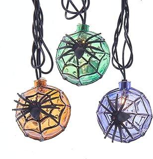 Kurt S. Adler UL 10 Orange, Purple and Green Balls with Spider Incandescent Novelty Light Set, Multi
