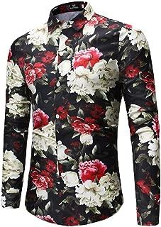 Camisa Hombre Manga Larga Estampada Flores/Ancla/Vintage/Regular Camisas Vestir Fiesta Slim Fit Cuello Mao,Moda Flor Impresión Blusa Camisas Manga Larga Tops