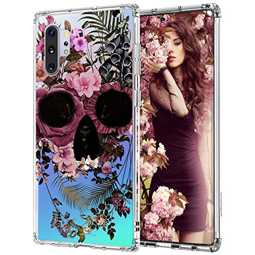 for Galaxy Note 10 Plus Case,Galaxy Note 10 Plus 5G Case, MOSNOVO Skull Floral Skeleton Flower Crystal Clear Design Shock Absorption Bumper Soft TPU Cover Case for Samsung Galaxy Note 10 Plus 5G