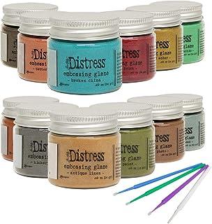 New Ranger Tim Holtz Distress Embossing Glaze - Includes PTP Flash Deals Blending Sticks (12 Complete Collection)