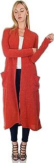 Women's Knit Long Sleeve Open Front Drape Maxi Duster Cardigan w/Pockets (Size: S-5X)