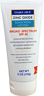 Trader Joe's Zinc Oxide Mineral Based Hypoallergenic Sunscreen SPF 40