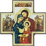 Ferrari & Arrighetti Icono bizantino de la Sagrada Familia en Forma de Cruz - 15 x 15 cm