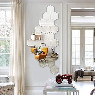 Miroir Mural Autocollant, 24 Pièces Miroirs Acryliques Autocollants, Hexagone Mural Autocollant , Sticker Mural Miroir Hex...
