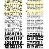 Kit de Números de Reloj Incluyendo Número Árabe y Número Romano en Oro Negro Plata Números de Reloj Digital DIY para Diseñar Reemplazo Reparación de Accesorios de Reloj (12 Piezas)