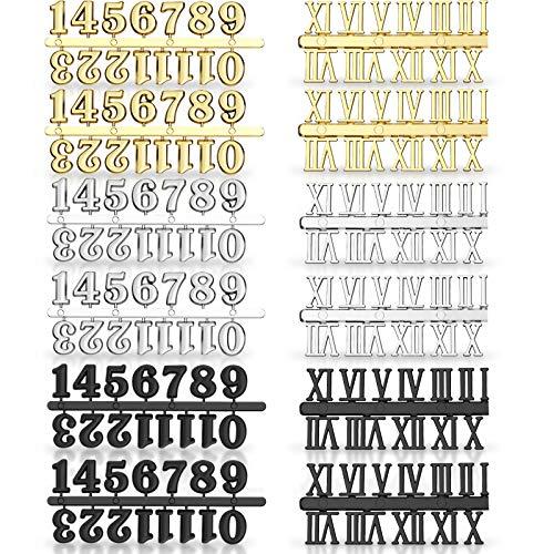 Uhrenziffer Kit mit Arabischer und Römischer Nummer in Schwarz Silber Gold DIY Digital Uhren Nummern für Design Ersatz Reparatur Uhren Zubehör (12 Stücke)