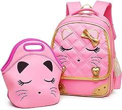 Efree Cute Cat Face Bow Diamond Bling Waterproof Pink School Backpack Girls Book Bag