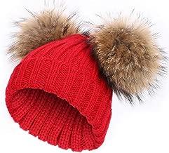 Kids Winter Fur Pompom Hat Toddler Raccoon Fur Double Ball Warm Knitted Beanies Bobble Ski Caps