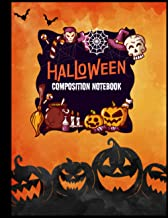 Halloween Composition Notebook: Composition Book with Owls, Pumpkins, and Scary Ghost Cover - Halloween Notebook for Women...