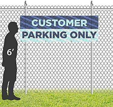 Customer Parking Only CGSignLab 9x3 Stripes Blue Wind-Resistant Outdoor Mesh Vinyl Banner