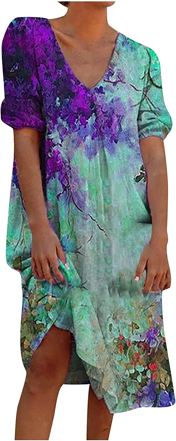 CofeeMO Women's Plus Size Casual Loose Round Neck Floral Printed Summer Dress Short Sleeve407