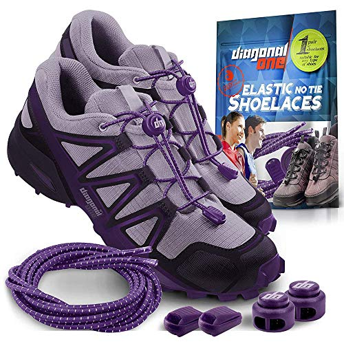Diagonal One Elastic Shoe Laces for Men and Women, Compatible with Sneakers, Converse, Trainers, and Casual Footwear – No Tie Shoelaces Suitable for Kids, Adults, Teenagers and Seniors (Purple)