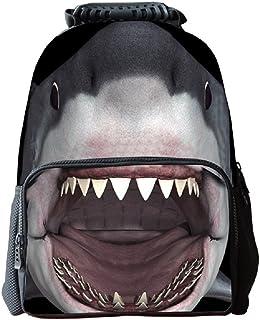 3D Print Shark Backpack, Waterresistant Felt Bookbag School Rucksack for Elementary or Middle School Boys and Girls
