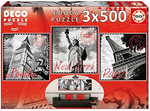 Educa- Serie Deco 3 puzzles de 500 piezas, Grandes Ciudades (17096)