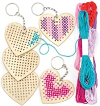Baker Ross Ltd Wooden Heart Cross Stitch Keyring Kits for Beginners (Pack of 5) Embroidery Set with Thread for Kids